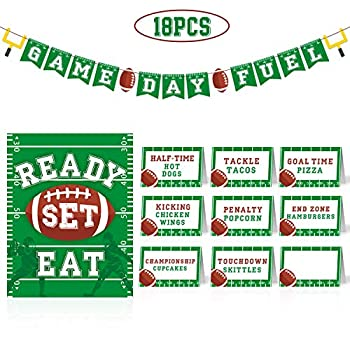 Football Snacks Bar Kit Game Day Food Tents Sign Banner for Football Party Supplies Tailgate Party Sport Party Decoration