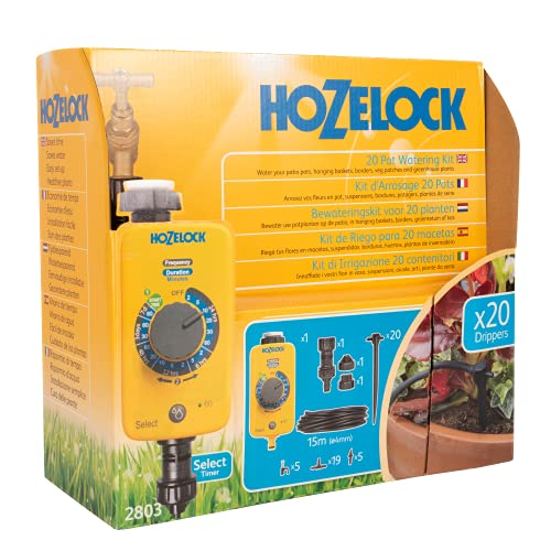 Hozelock Ltd 20 Pot Watering Kit Including AC1 Timer which Has 13 Pre-set Programs to Supply Water...