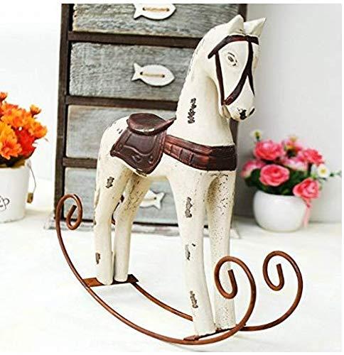 Gwill 1PCS Creativo retrò Ornamenti in Legno Cavallo a Dondolo Animal Gift Vintage Studio Store Home Decor Statuette Wood Crafts Statuette