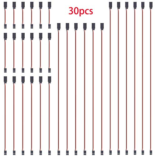 GTIWUNG 30PCS 4' 6' 12' 20' 24' JR Style Servo Extension Cable, Servo Cables, 3Pin Extension Cable 22AWG 60 Cores Wire Male to Female Futaba JR for Remote Control Aircraft, 5 Sizes, 6 Each