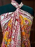 Indio, 100% algodón, pareo de mano, estampado de bloques, bufandas de algodón, blanco y amarillo, flor impresa, pareo de la cubierta de las mujeres de playa, bikini pareo tamaño 44 x 72 pulgadas 042