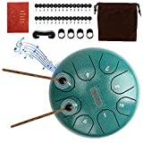 Steel Tongue Drum LINGSFIRE Handpan Drum 8 Notes 6 Inches Steel Drum Set Percussion Instrument Calm Drum with Drum Bag Mallets Finger Picks Music Score for Musical Education Yoga Meditation
