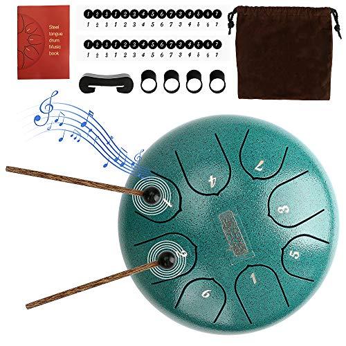 Brynnl Stahl Zunge Trommel, 6 Zoll Hand Pan Drum 8 Noten Hand Drum Percussion Steel Drum Instrument mit Drumsticks, Tragetaschen, Musik-Buch, Finger-Picks, Tonic Sticker