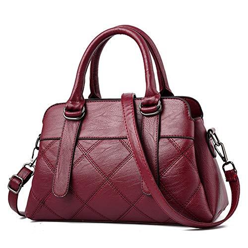 CYPYGZ Europese en Amerikaanse persoonlijkheid moeder tas Plaid middelbare leeftijd vrouwelijke tas handtas zacht leer Messenger tas Wijn Rood