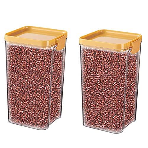 Annfly 2 recipientes cuadrados herméticos para almacenamiento de alimentos con tapas de bloqueo, apilables e irrompibles a prueba de humedad para granos, semillas, sal (amarillo)