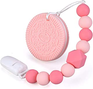 Baby Teething Toys BPA Free Silicone Teether Chew Egg with Pacifier Clip Cute and Effective Pain Relief Pink Cookie for Stylish Girl