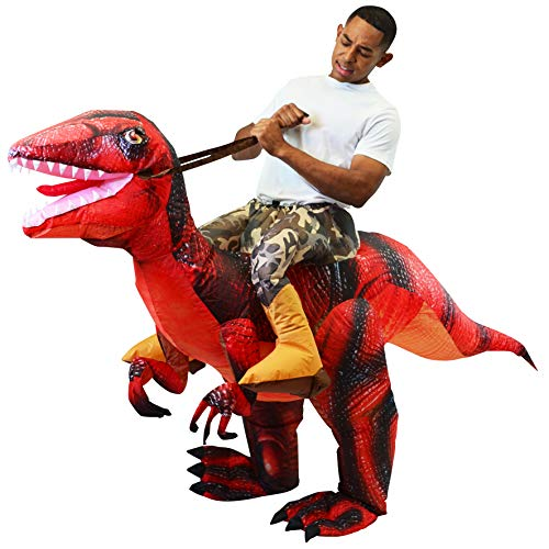 Spooktacular Creations Inflatable Raptor Riding a Raptor Dinosaur Deluxe Costume - Adult (Red)