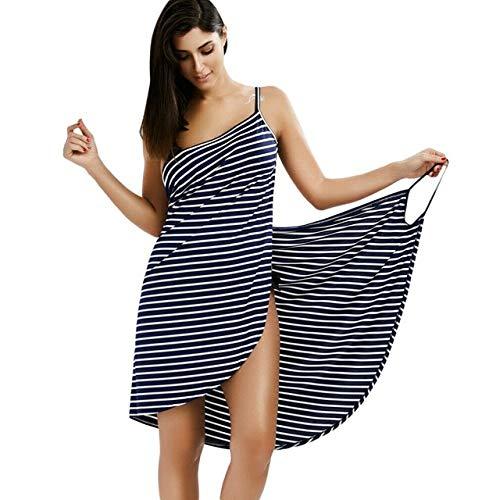 Mdsfe Talla Grande Toalla Textil para el hogar Batas de baño Vestido de Toalla a Rayas usable Niñas Secado rápido Playa SPA Ropa de Dormir mágica Dormir - Azul Marino, XL