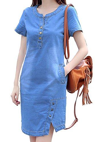 La Mujer Manga Corta Una Linea De Vestido De Verano Casual Vestidos Denim Jean Blue L