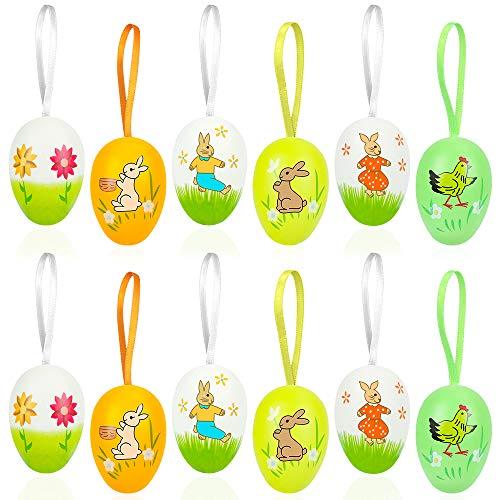 Ostereier Plastik,12 Stück Deko Eier für Ostern,Ostereier zum Aufhängen,Bunte Plastik Eier Ostern,Ostern Eier, Ostereier Basteln Kunststoffeier, Ostereier Dekorieren, Ostereier zum Bemalen mit Band