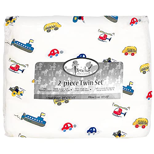 Frenchie Mini Couture 2-Piece Twin Sheet Set Kids & Teens 100% Woven Cotton, Cars, Boats, Planes, 39 x 75 x 15in