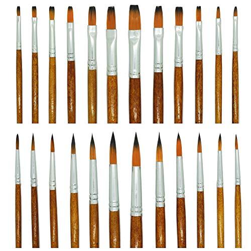 Boclay Malen Pinsel Set 24 teilig, Nylonhaar Holzgriff Flachpinsel Rundpinsel, Malerbedarf Künstlerpinsel Malerpinsel für Acryl Gouache Aquarell Ölgemälde Wasserfarben Malerei