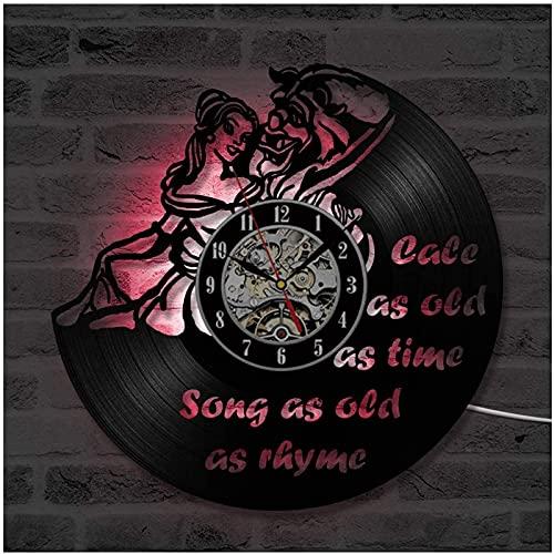 TeenieArt La Bella y la Bestia Reloj de Pared de Vinilo de la Regalo Original para Decoración de la Pared Decoración de la habitación Decoración de Fiesta Hecha
