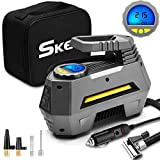 SKEY Digital Tyre Inflator, Portable Air Compressor Pump, DC 12V 150PSI, Car Pump Tire Inflator with Auto Shut Off, LED Flashlight, 3 Nozzle Adaptors and Extra Fuse