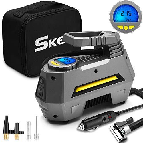 SKEY Pompa ad Aria Elettrica Portatile DC 12 V 150 PSI Pompa ad Aria con Schermo LCD per Auto, Bicicletta, Moto, Basket, Football ECC. (Nero)