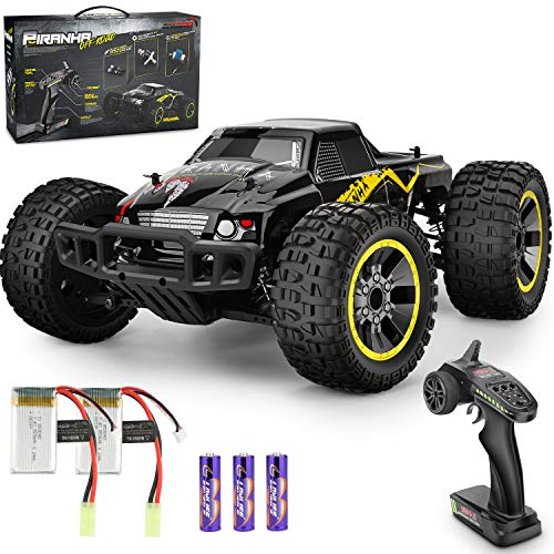 Rcabcar High Speed Remote Control Car for Kids Adults,4WD All Terrains Waterproof Drift Off-Road Vehicle,2.4GHz RC Road Monster Truck Included 2 Rechargeable Batteries,Toy Gift for Boys Girls(Yellow)