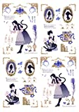 BLOUR 1 Hoja tamaño A4 Anime niño niña/Gato/Bosque Alice/Tienda Pegatina Decorativa sin Cortar DIY planificador Diario álbum de Recortes Pegatinas