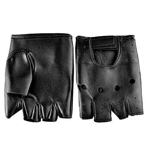 Autone 1 Paar Herren-Handschuhe aus Kunstleder, Hip-Hop-Handschuhe, rutschfest, halbe Finger, fingerlos
