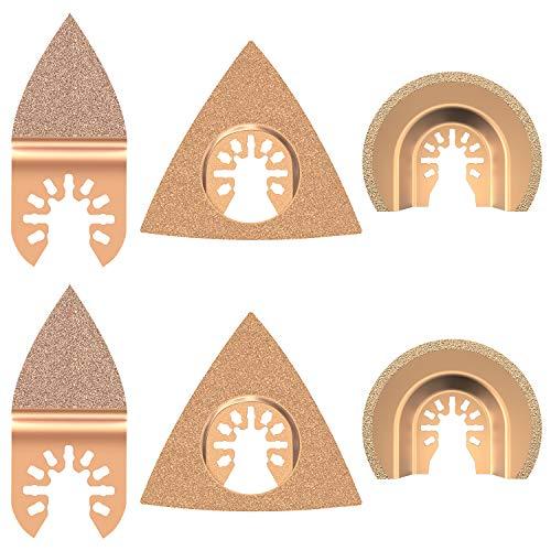 ATopoler - Juego de 6 hojas de sierra oscilantes de carburo, multiherramienta mixta, multiherramienta, semicírculo triangular, para azulejos, lechada, mortero, hormigón, mampostería