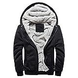 Abrigo de Chaqueta de suéter,JiaMeng Hombre Sudadera con Capucha Winter Warm Fleece Zipper de Invierno Geographical (Negro,L)