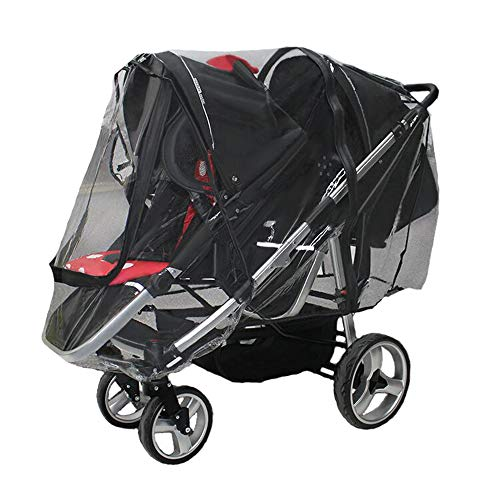 Rain Cover for Double Stroller,Tandem Stroller Weather Shield, Universal Size, Two Zip Windows,Waterproof, Windproof