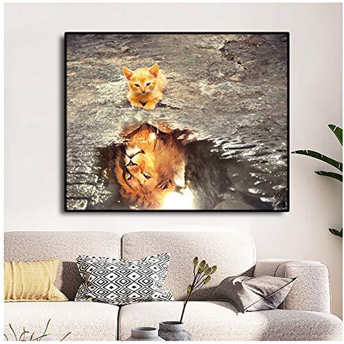 JinYiGlobal Leinwand Gemälde Bilder Katze und Löwe Grube Wasser DekorationFür Schlafzimmer Wohnzimmer Wohnkultur Kunstwerk Wand 60x100 cm (23,6