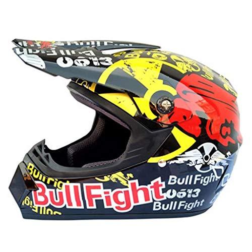 Offroad-Rennhelm Motocross-Helm Downhill-Mountainbike-Helm Motocross-Helm Erwachsenen-Quad-Motorradhelm Vollgesichts-Antikollisions-Crosshelm / Schutzbrille / Maske / Handschuhe (L / 58-59Cm) Schwarz