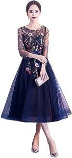 格安高級半袖刺繡花柄ネイビーブラックシースルー チュールミディアムドレス披露宴お呼ばれ結婚式パーティードレスXS S M L XL XXL XXXL