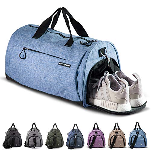 Fitgriff® Sporttasche Reisetasche mit Schuhfach & Nassfach - Männer & Frauen Fitnesstasche - Tasche für Sport, Fitness, Gym - Travel Bag & Duffel Bag 48cm x 26cm x 25cm [30 Liter] (Light Blue, Small)