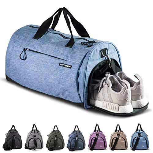 Fitgriff® Sporttasche für Damen und Herren - mit Schuhfach & Nassfach - Tasche für Sport & Fitness - Gym Bag, Trainingstasche (Light Blue, Small)