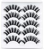 URAQT Pestañas Postizas, 5 pares de Pestañas de Aspecto Natural 3D, Paquete de Pestañas Suaves Reutilizables Hechas a Mano para Extensión de Pestañas de Maquillaje (Grueso)
