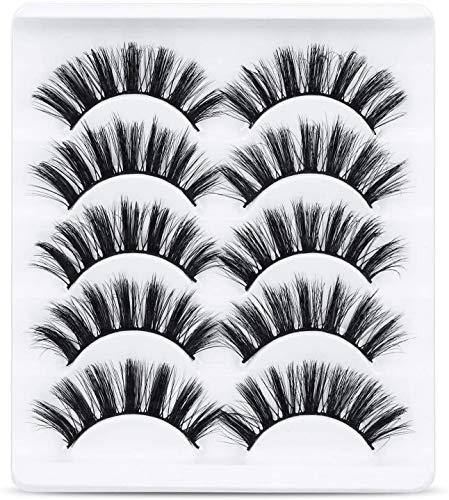 URAQT Falsche Wimpern, 5 Paare 3D Künstliche Wimpern Natürliche, Unechte Wimpern Set, Wimpern Faux-Nerz Für Arbeit Dating Party, Wiederverwendbar, Schwarz (47)