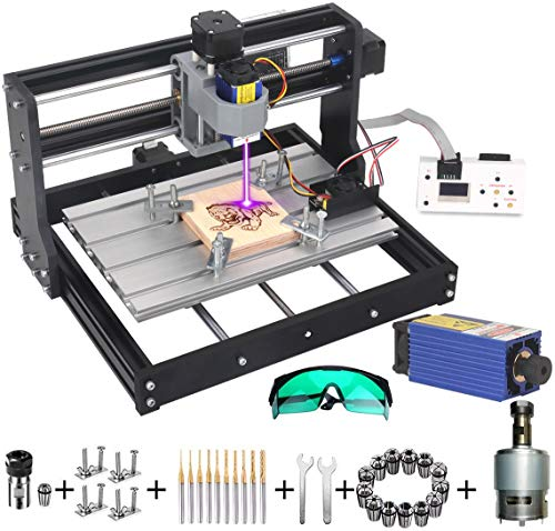 MYSWEETY DIY CNC 3018-PRO 3 Axis CNC Router Kit with 7000mW 7W Module + PCB Milling, Wood Carving Engraving Machine with Offline Control Board + ER11 and 5mm Extension Rod