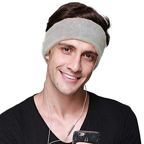 CHOKMAX Slaapkoptelefoon met ultradunne, verstelbare luidsprekers, comfortabele slaapoogmasker van zacht fleece om te slapen, perfect voor vliegreizen, meditatie en slapeloosheid grijs