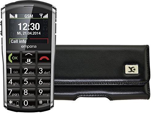 Suncase Original Quertasche für Emporia PURE Horizontal Tasche Ledertasche Handytasche Etui mit Clip & Sicherheitsschlaufe* in schwarz