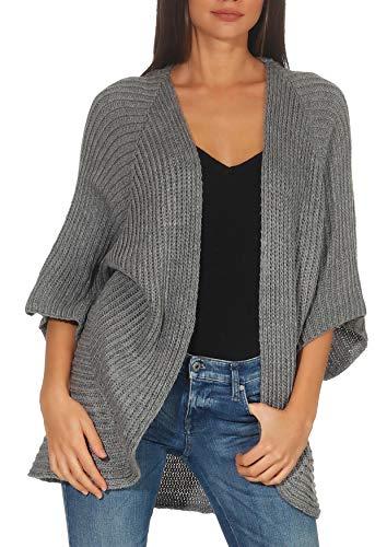 Malito Mujer Lana-Chaqueta Superior Cardigan Suéter Pullover 0185 (Adecuado de la Talla 40 hasta 46, Gris)