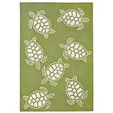 Liora Manne Sea Turtle Greenery Rugs, 5'X7'6,