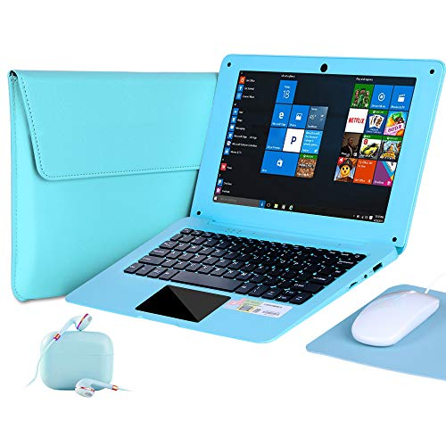 G-Anica 10.1 Inch Windows 10 Laptop Quad Core Notebook Slim and Lightweight Mini Netbook Computer with Netflix Youtube Bluetooth Wifi Webcam HDMI , and Laptop Bag,Mouse, Mouse Pad, Headphone (Green)