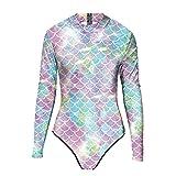 MODRYER Mujeres de una Pieza Traje de baño Sunsuit Superhero Traje de natación 3D Impreso Deportes Swimwear Sun UV Protección Adulto Rash Guards Surfwear,White-L/XL