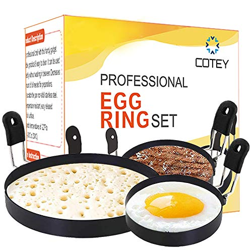 COTEY 1x Large 6' Pancake Mold & 2x 3.5' Nonstick Egg Rings Set of 3, Round Crumpet Ring Mold Shaper for English Muffins Pancake Cooking Griddle- Portable Grill Accessories for Camping Sandwich Burger