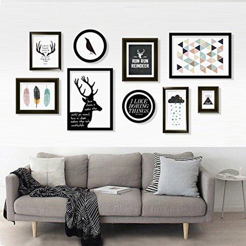 Cadre décoratif 9 pcs/ensembles Collage Photo Frame Set, cadres photo Vintage, mur de cadre photo famille, cadre photo de mariage bricolage cadre photo ensembles pour mur (Couleur : A)