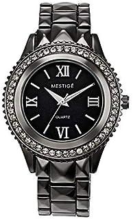 Mestige Women's Black Dial Alloy Band Watch - Mswa3114, Black Band, Analog Display