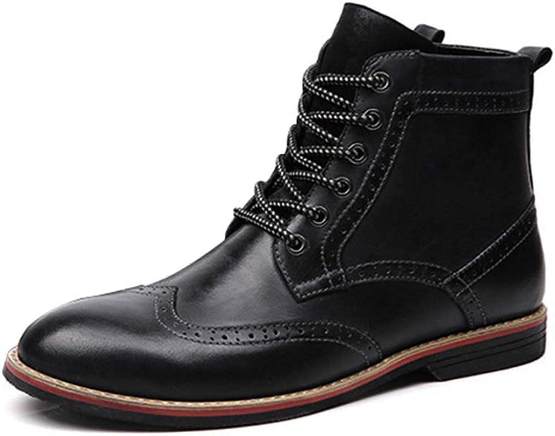 HYLFF Stiefel Männer Lace-up Bullock Geschnitzte Schuhe Leder Casual Martin Stiefel Western Round Head Stiefel Cowboy Reiten Ankle Stiefel,schwarz,42EU  | Queensland