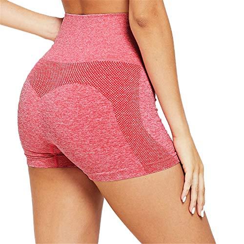 SotRong Pantalones Cortos de Yoga Sin Costuras Cintura Alta para Mujer Estiramiento Deportivo Pantalones Cortos para Correr Pantalones de Yoga de Elevación a Tope Pantalones de Verano Calientes Rosa S