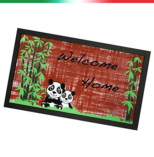 ARREDIAMOINSIEME-nelweb Felpudo Goma Entrada 40x 70Welcome Panda Antideslizante Alfombra Exterior Moderno Mod.Format 66