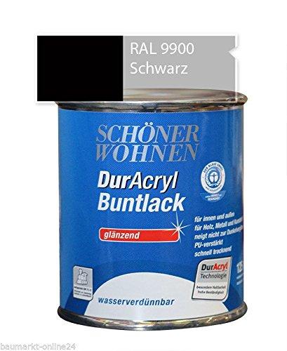 DurAcryl Buntlack Schwarz 125 ml RAL 9900 Glänzend Schöner Wohnen