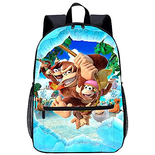 3D Escolar Mochila con Viaje Mochila-Donkey Kong Country Tropical Freeze-Adecuado para: estudiantes de primaria y secundaria, la mejor opción para viajes al aire libre-Tamaño: 45x30x15 cm / 17 pulg