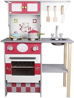 台所おもちゃ、木の子供の子供の台所、木のふりの演劇のおもちゃの台所