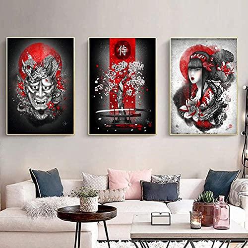 Pintura de arte 3 piezas 50x70cm Sin marco Pintura de pared Giclee Geisha japonesa y Yin Yang Pintura de peces sobre lienzo Arte de la pared Pintura Decoración de la sala de estar