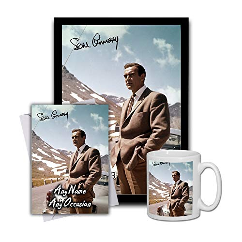 Star Prints UK Sean Connery 007 James Bond Goldfinger 4 Gift Set Bundle 2019 - Large 11cm Mug, A4 Framed Poster And Matching Birthday or Christmas Card (Personalised Card)